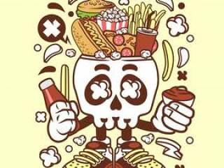 垃圾食品头骨卡通