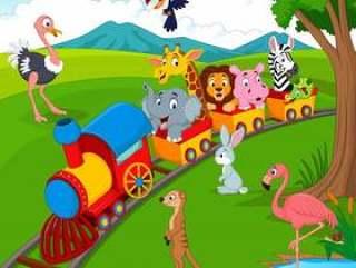 在铁路的动画片火车有野生动物的