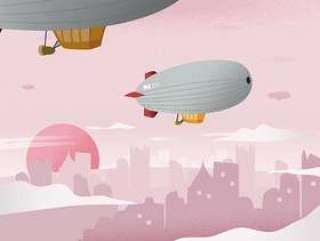 飞船在城市风景背景传染媒介例证