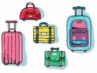 现代多彩行李手绘矢量图