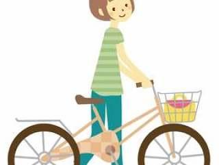 一个女人通过推自行车走路