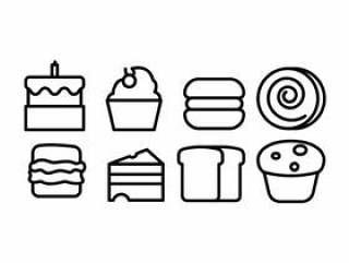 面包和面包店的图标