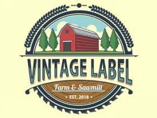 老式农场和锯木厂标签矢量