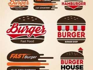 汉堡店图标标志设计一套