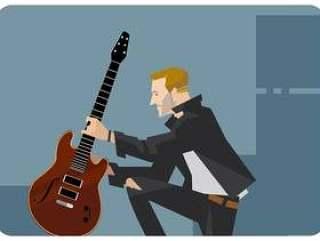 吉他弹奏者与他的吉他矢量