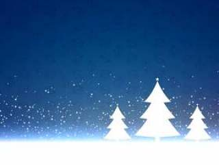 与三棵树设计的蓝色圣诞节背景