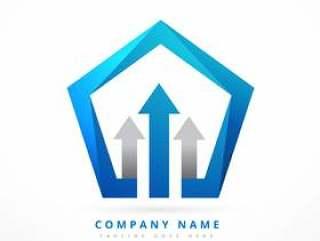 箭头带领蓝色商业风格徽标模板设计