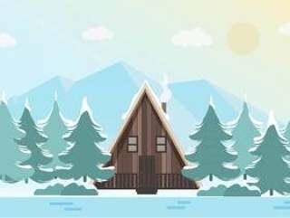 美丽的矢量冬季景观图