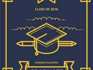 毕业卡插图与毕业帽子和文凭信件的问候