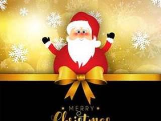 圣诞雪花背景上的圣诞老人