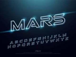 抽象技术霓虹字体和字母表。技术效果