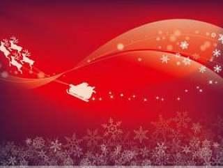 星空飞行夜空的圣诞老人·雪的水晶