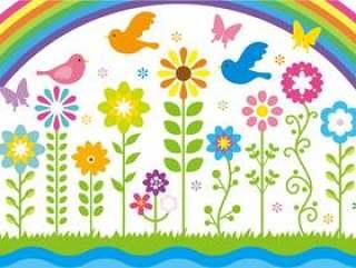 五颜六色的花和风景