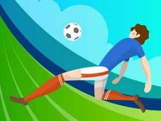 现代简约法国足球运动员准备好用渐变背景矢量图拍摄球