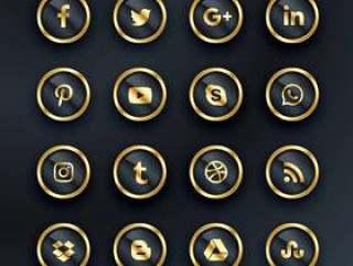 豪华风格的社交媒体图标包