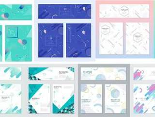 11款夏季高端几何创意小清新风格促销活动海报模板矢量设计素材