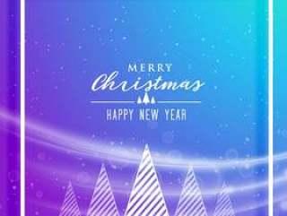 充满活力的圣诞快乐圣诞插画与树设计