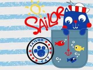水手猫孩子的设计传染媒介