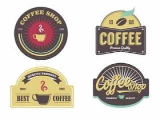 咖啡厅标志标签矢量包