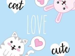 卡哇伊可爱的猫爱心卡通