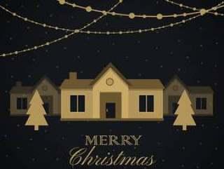 令人惊异的圣诞季节性问候与房子和树木