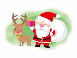 圣诞老人和驯鹿的圣诞节