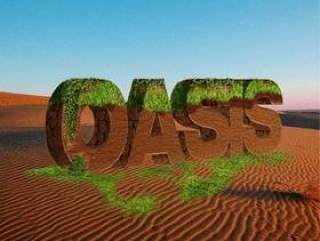 长满青草的沙丘字效果psd分层素材