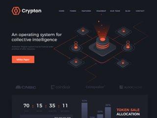 用于Photoshop的Blockchain ICO登陆页面,Crypton ICO登陆