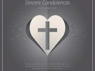 与十字图标和心脏形状的优雅的葬礼卡。