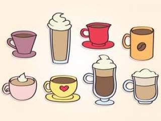 手绘咖啡杯子矢量