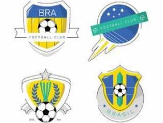 复古巴西足球修补程序徽标平面矢量图