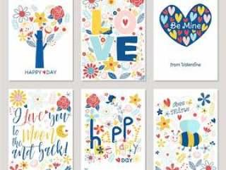 与五颜六色的手拉的花的华伦泰卡片