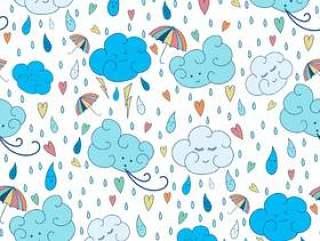 矢量无缝雨主题模式。多彩涂鸦秋季设计与云。