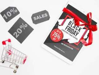 Black friday mockup with tablet