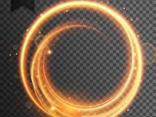 圆形金色光透明镜头眩光效果