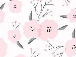 手拉的桃红色花无缝的样式背景