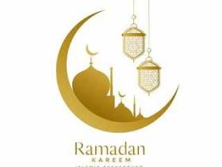 美丽的金色月亮和清真寺斋月贾巴尔设计