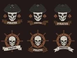 海盗横幅标志模板 矢量