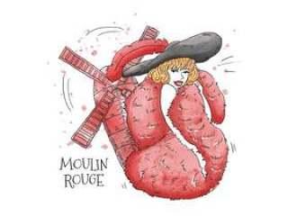 性感的余兴节目女人穿着红色的羽毛皮带和黑色的帽子前红磨坊胭脂巴黎