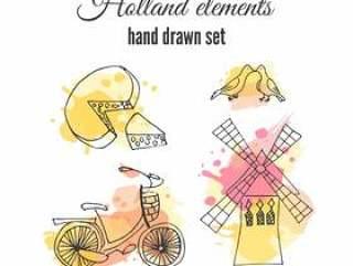 矢量荷兰装饰元素。荷兰插图。阿姆斯特丹自行车和风车。