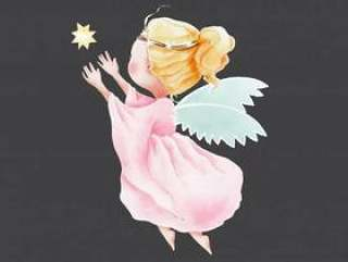 飞行到天空的水彩逗人喜爱的动画片天使星的