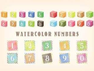 水彩触摸数字集