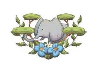 水彩大象与树木和树叶野生动物