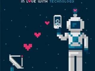 爱上技术在映象点艺术设计的传染媒介概念