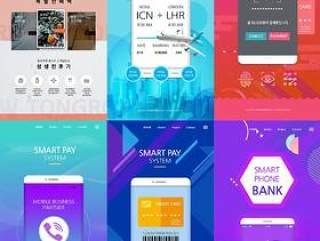 7款智能手机功能演示介绍页面指纹移动支付活动专题PSD设计素材