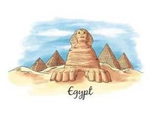 水彩纪念碑古埃及从埃及