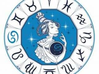 癌症占星术标志作为一个美丽的女孩。黄道带