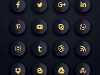 黑暗的优质社交媒体图标集