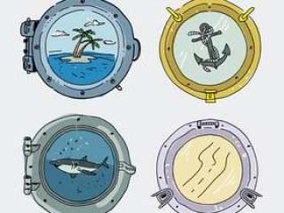 船窗口集合手绘矢量图