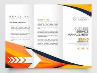 橙色商务三折传单宣传册设计传单年度再